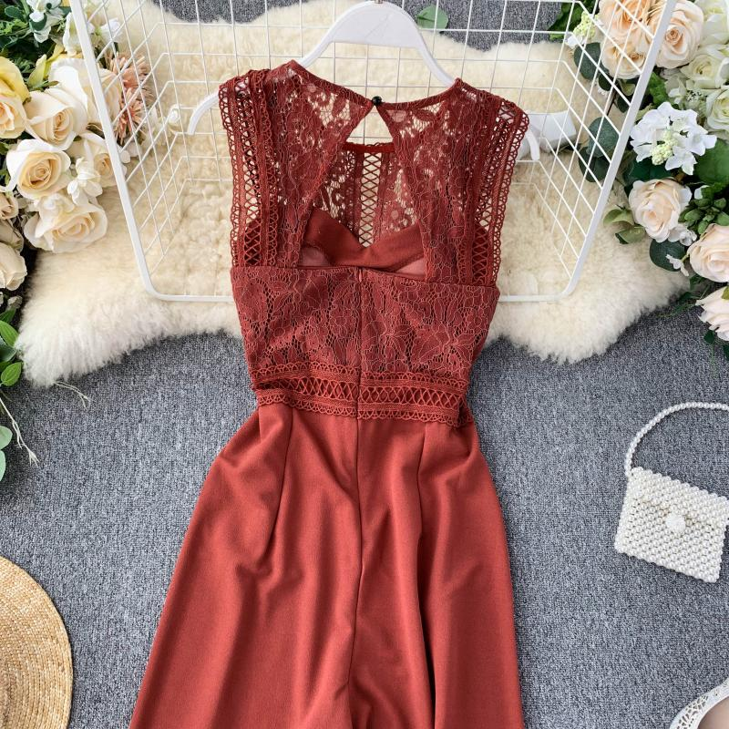 Elegant High Waist Hip Wide Leg Patchwork Lace Hollow Out Sleeveless Jumpsuit 26