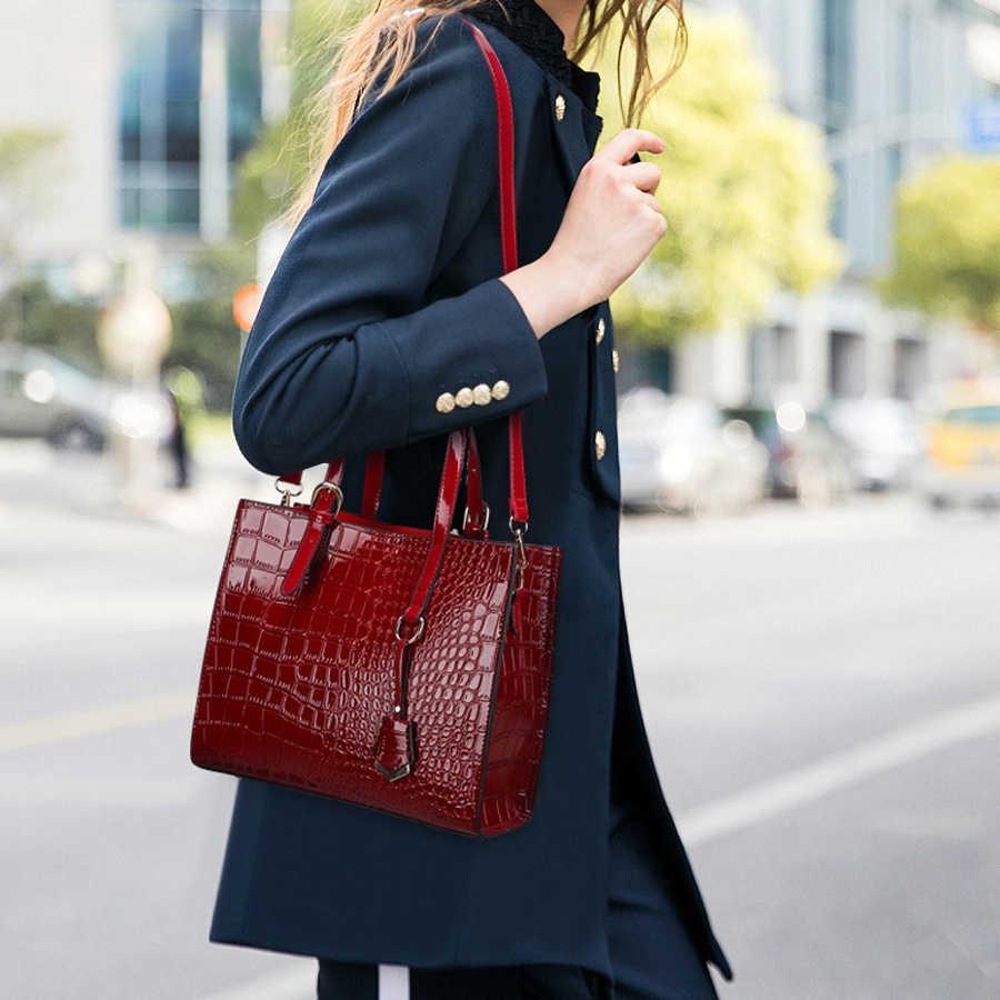 Однотонные вместительные красивые дамские сумки-мессенджеры из искусственной кожи аллигатора сумки на плечо в западном стиле Женская универсальная сумочка