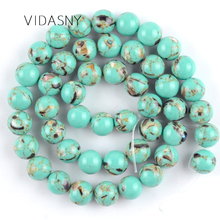High Quality Natural Light Green Shell Turquoises Stone Beads For Jewelry Making 4mm-12mm Loose Beads Diy Bracelet Necklace 15'' цена