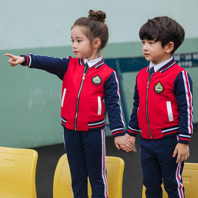 2019 New Style Children School Uniform College Style New Style Kindergarten Suit Autumn Clothing Primary School STUDENT'S School