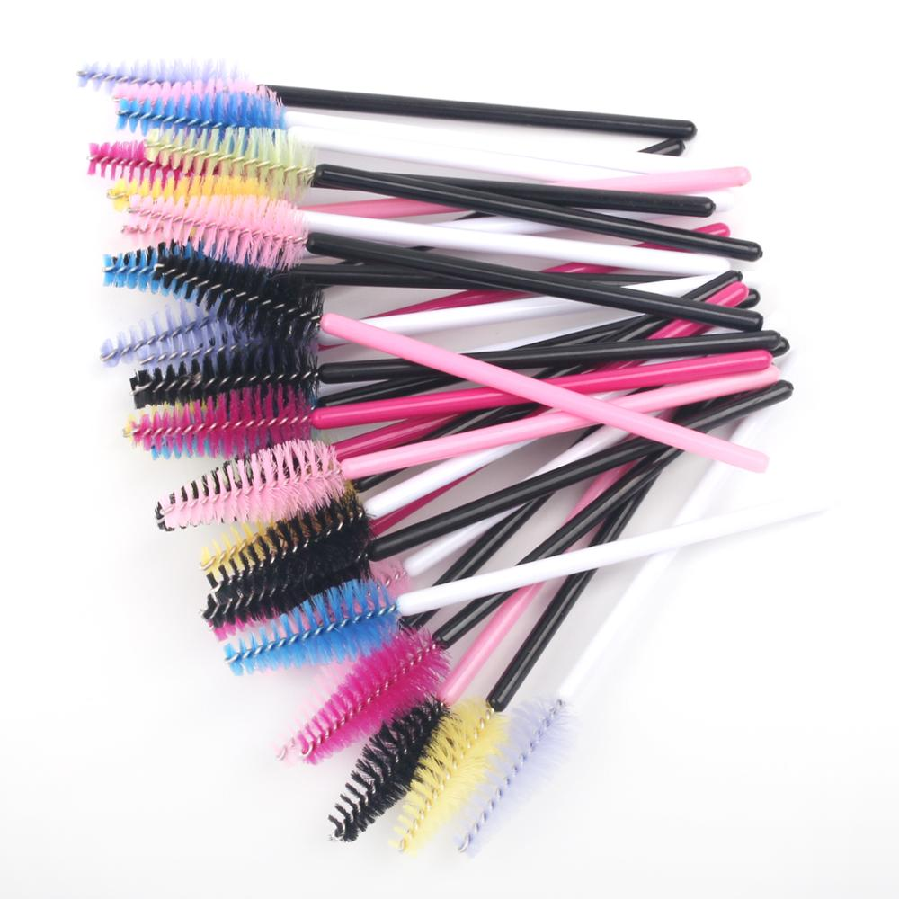 50pcs/lot Mascara Wands Bulk Disposable Eyelash Brushes For Extensions Brush Tool Kit For Women Accessories Red/Yellow/Pink
