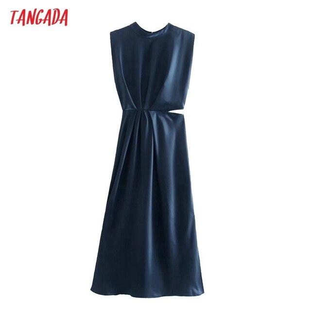 Tangada Women Cut-out Sexy Dress Sleeveless Backless 2021 Fashion Lady Party Midi Dresses 3H850 1