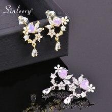 Sinleery charme cristal flor lágrima gota brinco para as mulheres ouro prata cor brincos de orelha moda jóias de casamento es568 sso