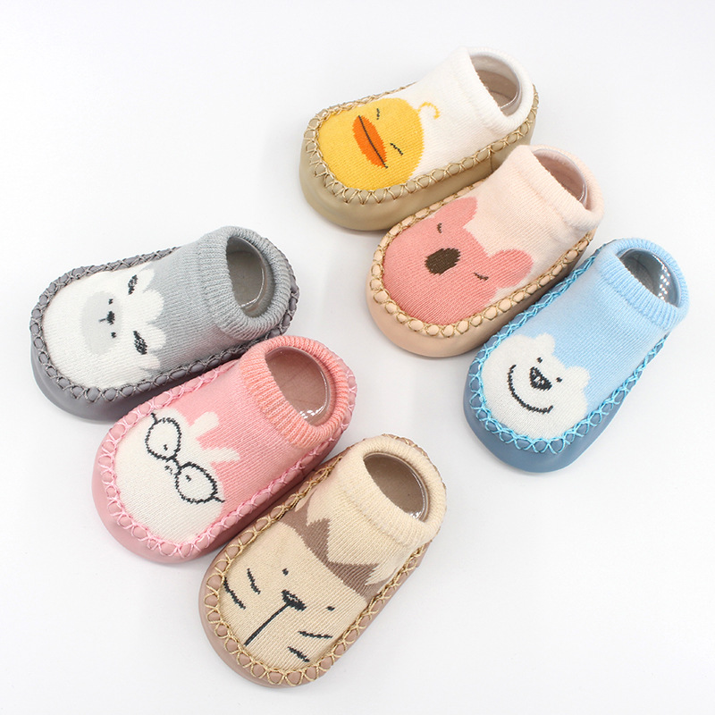 2019  Autumn New Baby Shoes Socks Toddler Soft Shoes Cartoon Children Floor Socks Non-slip Leather Socks  Newborn Baby Shoes