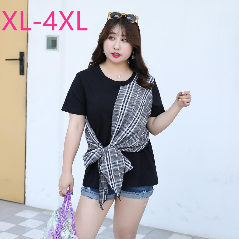 2020 New Fashion Summer Plus Size Tops For Women Large Loose Casual Short Sleeve Cotton Plaid O Neck T-shirt Black Green 3XL 4XL