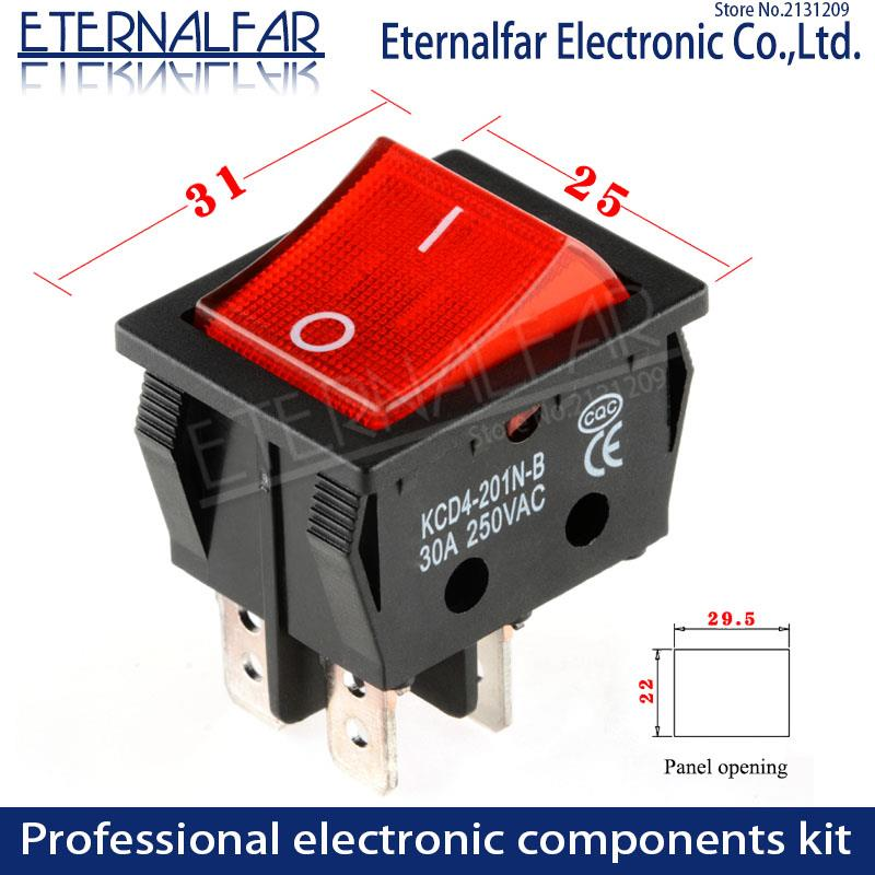 Image 3 - KCD4 Electric Welding Machine Switch Ship Type Switch With Red Light 30A 250V AC Electric Oven Electric Heater Switch 4PIN T8555-in Switches from Lights & Lighting