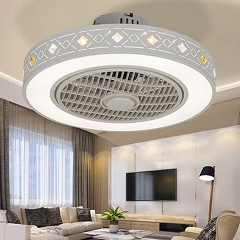 Modern minimalist white painted iron ceiling fan light crystal decorative acrylic LED lighting dimmable bedroom fan lamp - 4