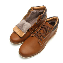 OUDINIAO Winter Warm Men Boots Fashion Plush Ankle Lace Up Motorcycle Working Casual Vintage Shoes
