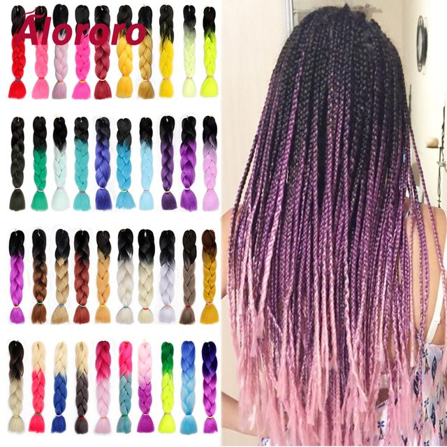 Alororo Afro Braiding Hair Mixed Color Synthetic Hair Extension for Braids 24'' 100g/Pack Jumbo Braid Hair Products Wholesale