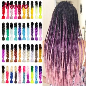 Alororo Ombre Braiding Hair Synthetic Hair Extensions for Braids 24''100g/P Afro Crochet Hair Braids Extensions Pink Jumbo Braid(China)