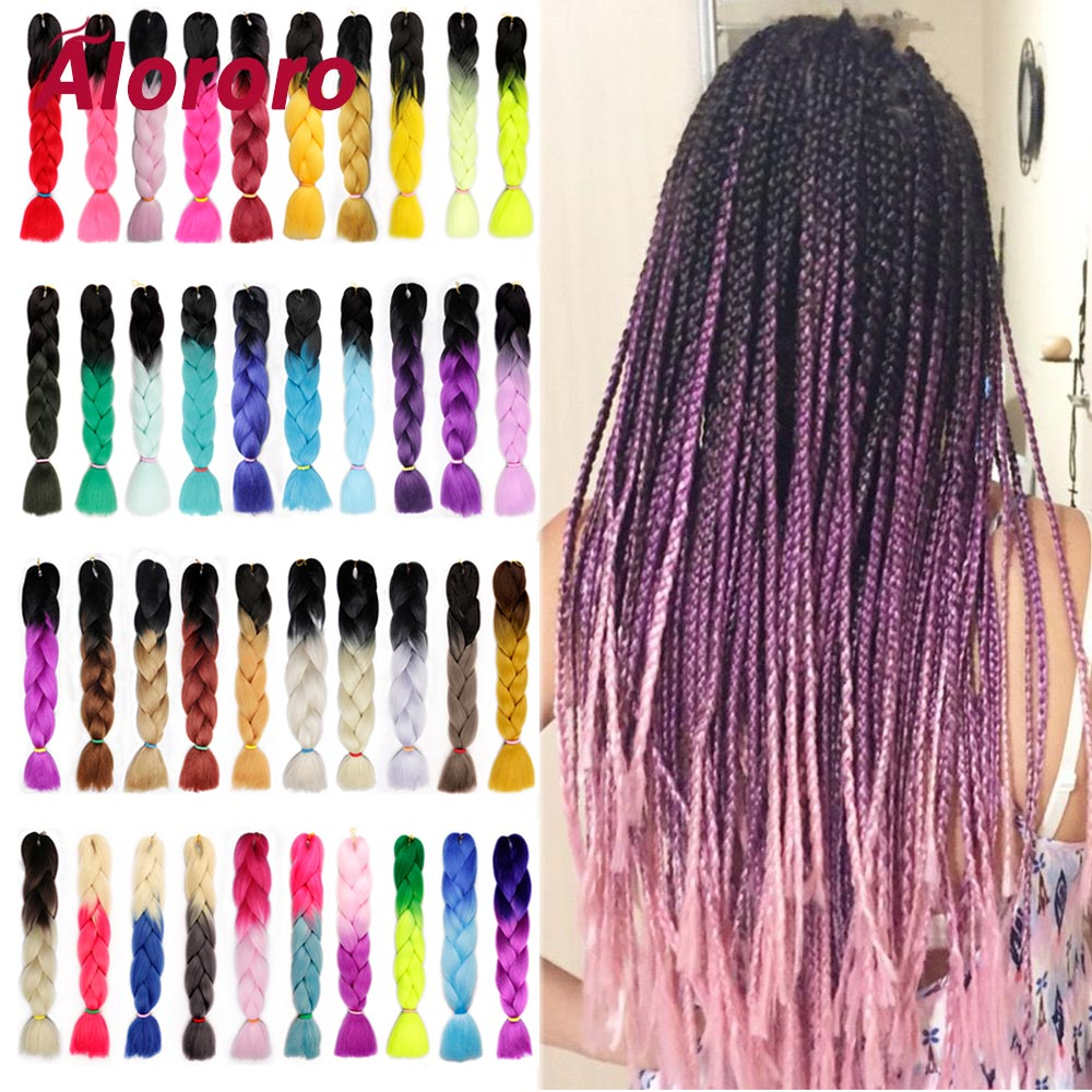 Alororo Ombre Hair Pink Braiding Hair For Braids 24'' 100g/P 60 Color Braiding Hair Extension Synthetic Crochet Hair Jumbo Braid