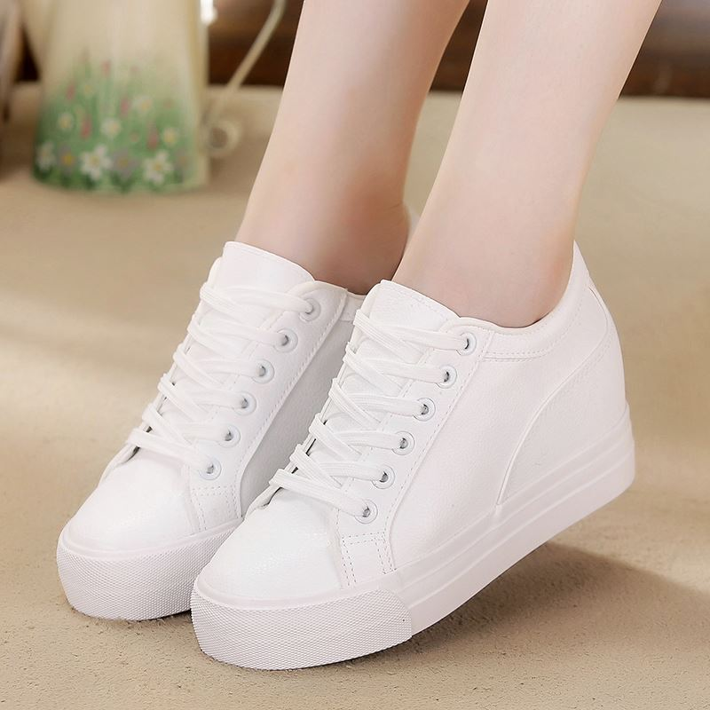 Breathable Sneakers increased Platform Shoes Casual Footwear Leather White Shoes Women's Vulcanize Shoes women sneakers