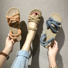 Straw hemp rope women's sandals 2019 new outdoor casual flat sandals