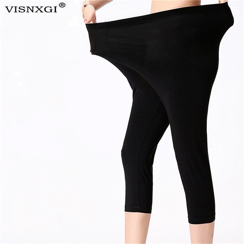 VISNXGI Women Fluorescent Color Leggings Large S-7XL Elasticity Casual Shiny Pant Leggings Spandex Elasticity Plus Size Capris