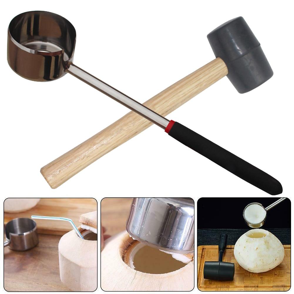 Practical Lightweight Coconut Opener Tool Set Stainless Steel Opener With Wooden Mallet