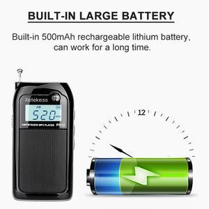 Image 4 - Retekess PR12 Mini kieszeń Radio FM AM cyfrowe Tuning odbiornik radiowy 9K/10K MP3 odtwarzacz muzyczny akumulator Radio przenośne
