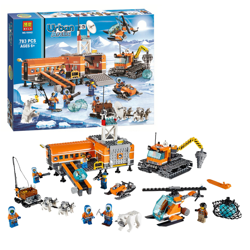 783P Bela 10442 3D Arctic Base Snow Camp Figures Set Building Blocks Bricks Toys Compatible Legoinglys City Train Plane