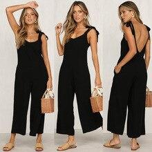Hot selling slashed casual black jumpsuit Sleeveless wide pants loose summer
