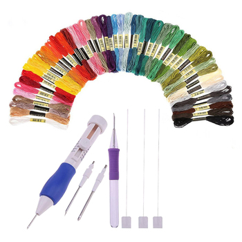 50 colors embroidery thread 3 Needles 2 Threaders Craft Tool Punch Needle Set  Embroidery Stitching for DIY Sewing - discount item  30% OFF Arts,Crafts & Sewing