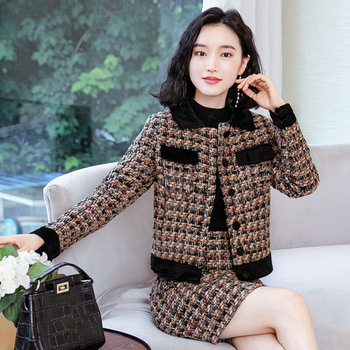 Womens Tweed Skirts Suits Two Piece Set Clothing Women Office Ladies 2 Pieces Jacket and Skirt Set Ladies Casual Uniform Outfit
