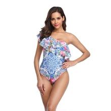 Swimsuit 2019 Tropical Flower Printing Swimwear One Piece Woman Single Shoulder Monokini Layer Frill Sexy Swimming Suit Trikini