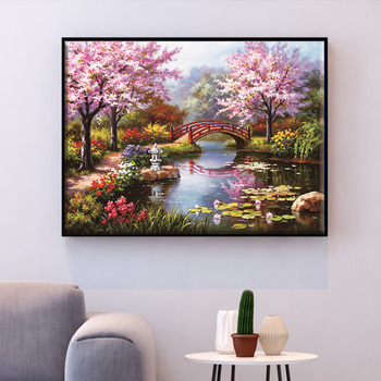HUACAN Cross Stitch Embroidery Bridge Scenery Needlework Sets Tree Landscape Kits White Canvas DIY Home Decor 14CT 40x50cm
