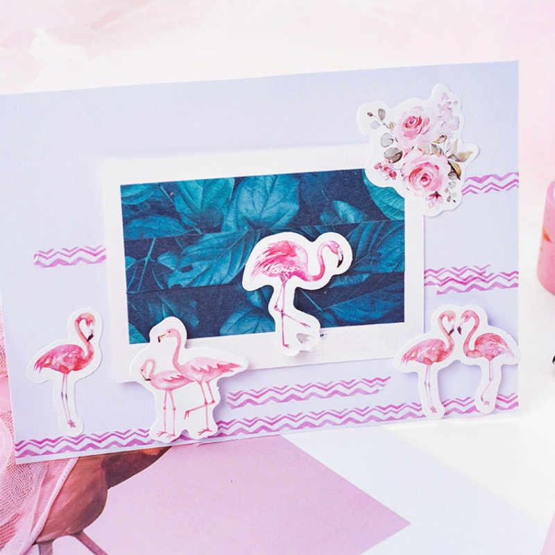 45 adet/kutu Vintage damga kırtasiye çıkartmalar DIY Flamingo bitkiler çıkartmalar ay dekorasyon günlüğü Scrapbooking kağıt