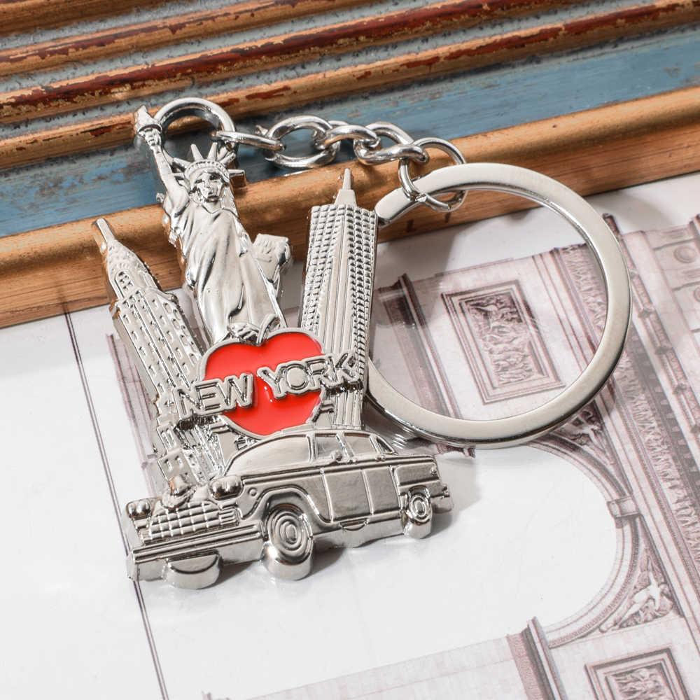 LLavero de aleación de Zinc fino Vicney de Nueva York Chrysler edificio estatuas de libertad forma Empire estado edificio coche llavero portátil