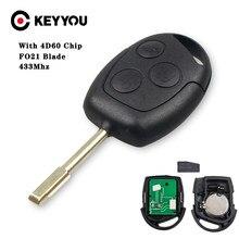 KEYYOU remoto llave de coche 433MHz 4D60 Chip para FORD Fiesta FORD Mondeo, fusión de tránsito KA 2001, 2002, 2004, 2005, 2006, 2007, 2008