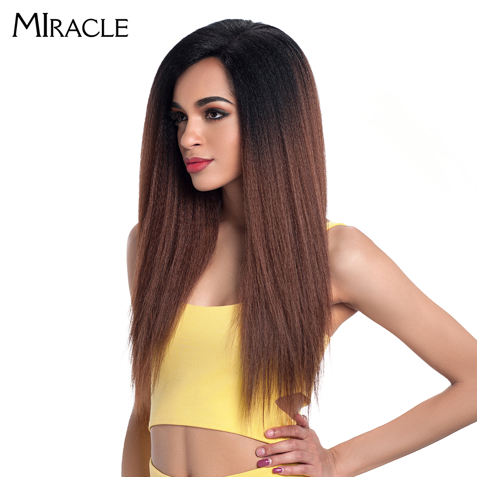 """Image 3 - Miracle Hair Ombre 26""""Inch Long Straight Synthetic Hair Lace Front Wigs For Black Women Yaki Lace Wigs With Baby Hair Free Part-in Synthetic Lace Wigs from Hair Extensions & Wigs"""