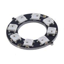 цена на WS2812 8-Bit 5050 RGB LED Lamp Panel Pratical Round Ring LED Driver Development Board IC Control Circuit