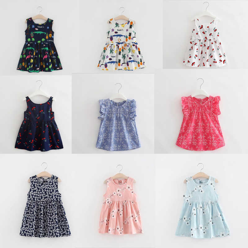Children Summer Sleeveless Girls Cartoon Dress Kids Printed Alligator Dresses Kids Flower Dress Baby Clothing