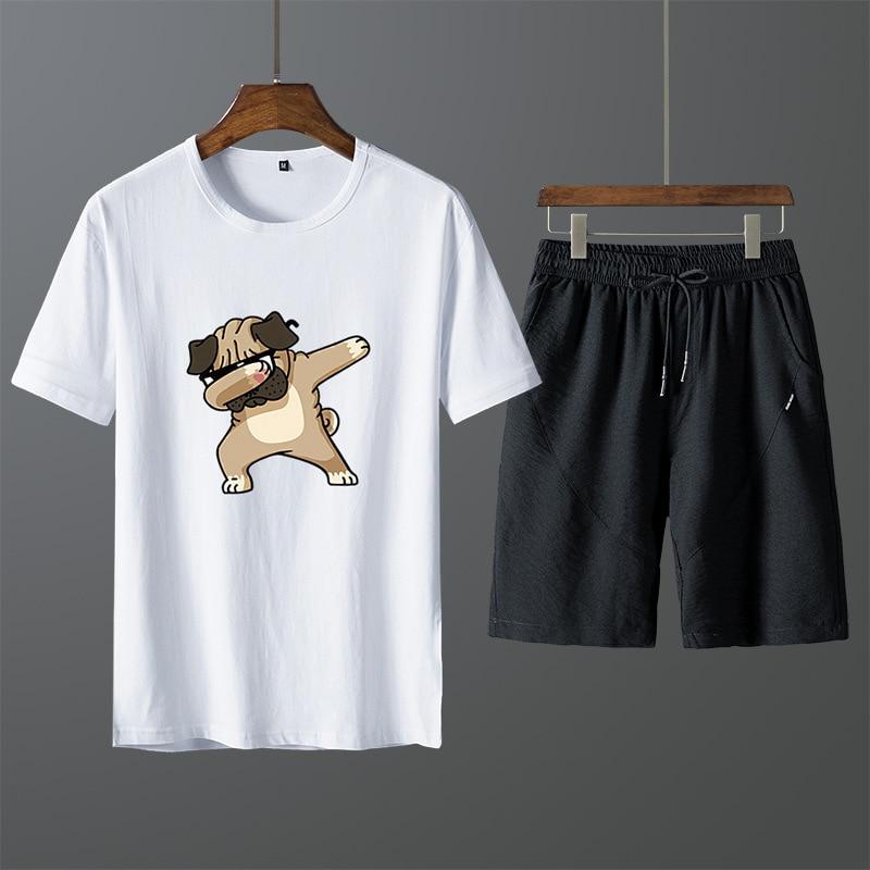 Summer New Style Korean-style Slim Fit Men's Pure Cotton Athletic Pants Two-Piece Set MEN'S Short-sleeved T-shirt Leisure Suit