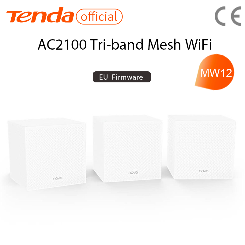 Tenda MW12 AC2100 Whole Home Mesh Wireless WiFi System with Tri-band WiFi Wireless Router and Repeater, APP Remote Manage 1