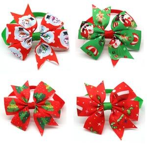 Image 3 - 50 adet kediler köpek noel yayı kravat Pet köpekler papyon yaka tatil dekorasyon Acciessories noel evcil hayvan malzemeleri 12 renk
