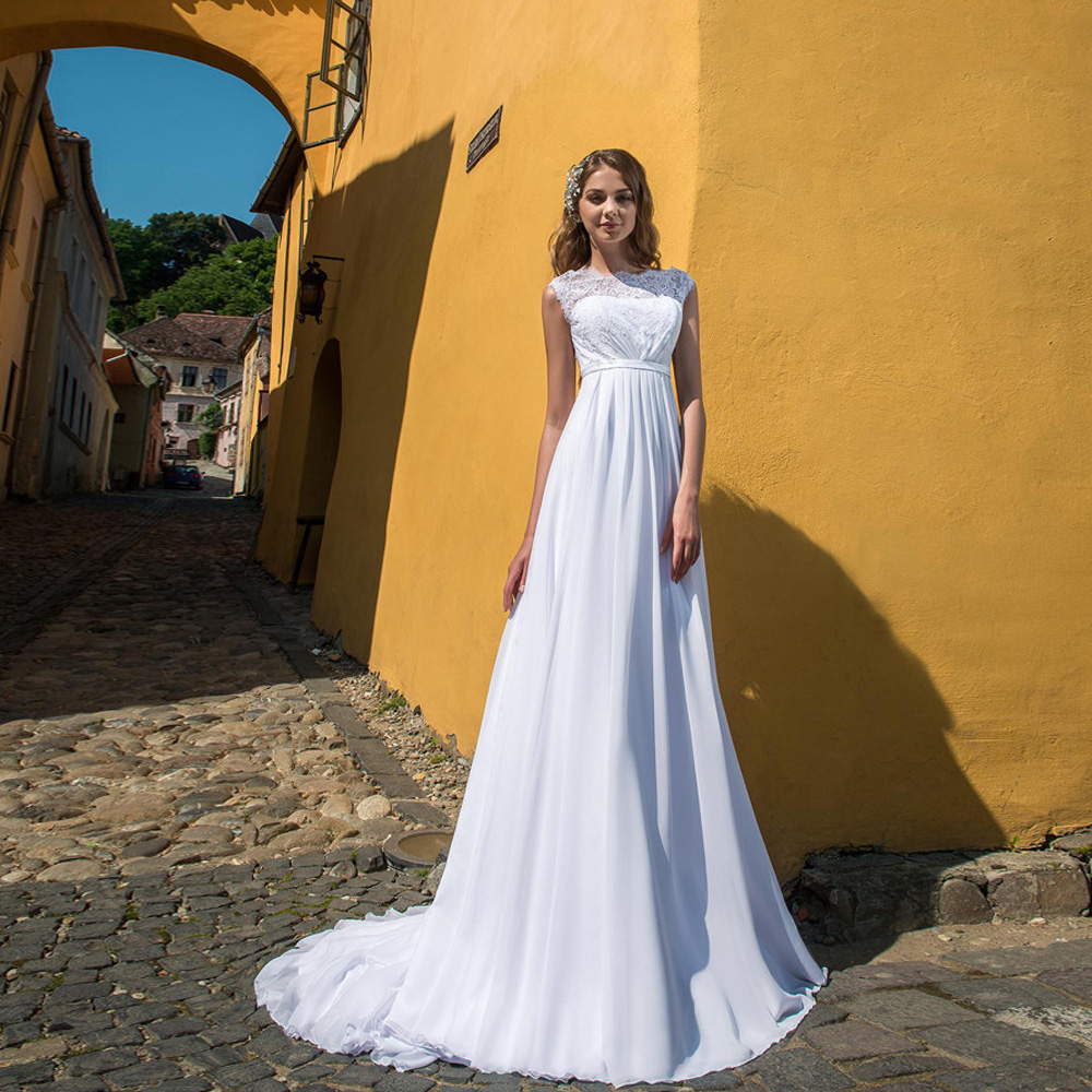 Elegant Jewel Empire Waist Wedding Dresses With Lace-up Back Chiffon Bridal Gown Lace Wedding Gown Customized Robe De Mariage