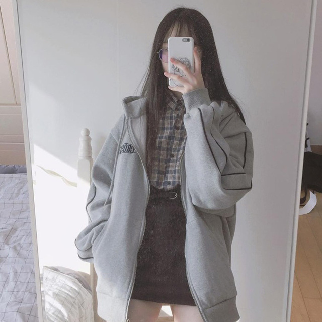 streetwear Harajuku Oversized sweatshirt women print Letter zip up Hoodies Student Plus Size Outwear Female Loose tops 4