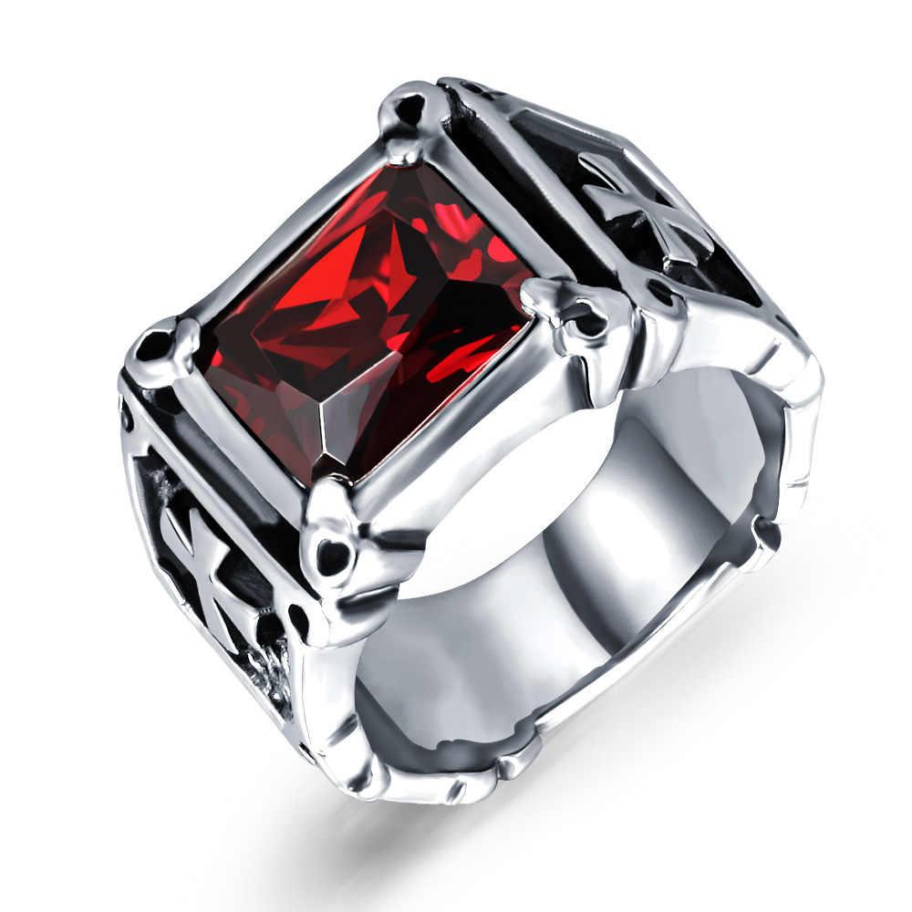 CZ negro rojo piedra caballeros Cruz hombres sello anillos boda compromiso banda motero Punk Rock Hip Hop masculino anillo Signet Vintage DDR016