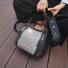 Geniş bant kadın çantası 2020 yeni elmas çanta kadın askılı çanta paket torbaları matkap geniş kayış omuz Mini yapay elmas