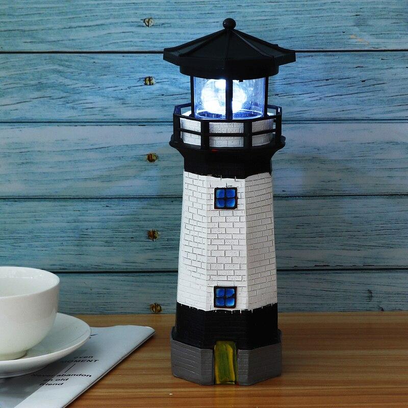 1pcs Solar Lighthouse LED Light Garden  Beacon Lamp 360 Degree Rotating Home Decor Resin Waterproof LED Lighting Lighthouse