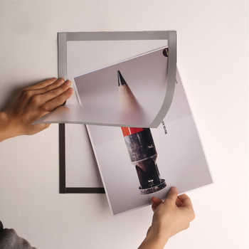 A4 Magnetic Self-adhesive Poster Frames Sticker Silver Office Store Picture Photo Certificates Frame 5pcs