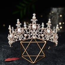 Diademas barrocas enchapado en plata de lujo con perlas de cristal, Tiaras nupciales, corona de diamantes de imitación, diadema CZ, accesorios para el cabello de boda