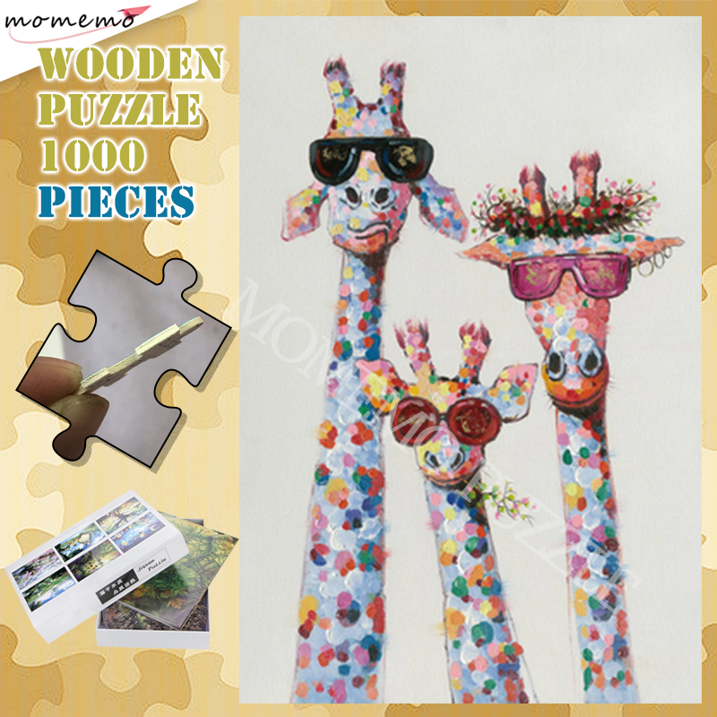 Fashion Animal Puzzle Toys 300 500 1000 Pieces Wooden Jigsaw Puzzles For Adults The Giraffe Family Puzzle Games Assembling Toy