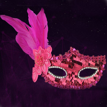 Hot Halloween Sexy Feather Sequins Elegant Eye Face Mask Masquerade Ball Carnival Fancy Party Gift Drop Shopping Wd3