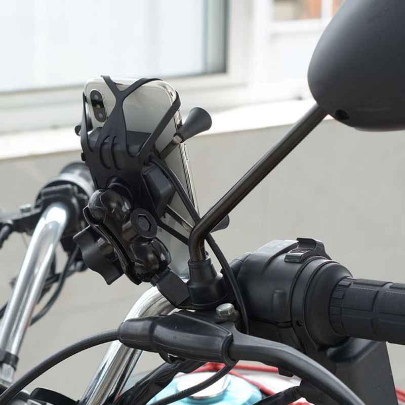Wholesale Motor Grip Ponsel Clamp Dudukan Braket Penahan dengan Soket Charger USB untuk Smartphone