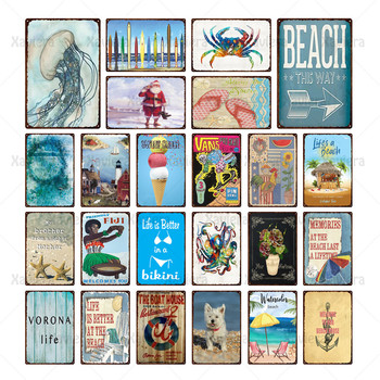 Life Is Beach Metal Tin Sign Summer Holiday Retro Chic Plaque Home Wall Art Decoration Beach Bar Club Retro Poster Wall Sticker