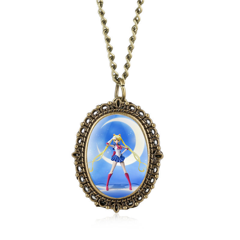 Charming Sailor Moon Pocket Watch Unique Large Dial Pentangle Wing Pendant Watches Cute Girl Clock Warcraft Relogio Masculino