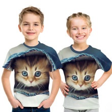 Toddler Kids Girls Cat Party Tops Summer Short Sleeve T-shirts For Boys Girl Clothes Casual TShirt 3 4 5 6 7 8 Year Baby Clothes