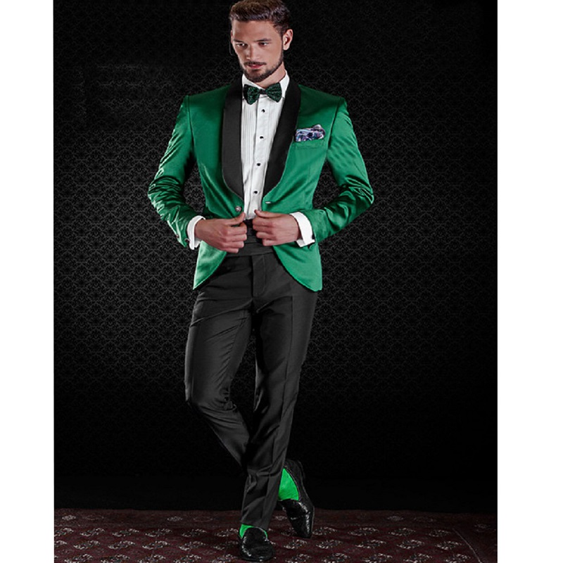 Vintage Slim Fitted Green Wedding Tuxedos With Black Shawl Lapel Two Pieces Party Dress Up For Male (Jacket+Pant)