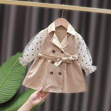 Primavera bebê meninas vestido duplo-breasted crianças polka dot gaze casual manga longa crianças vestido